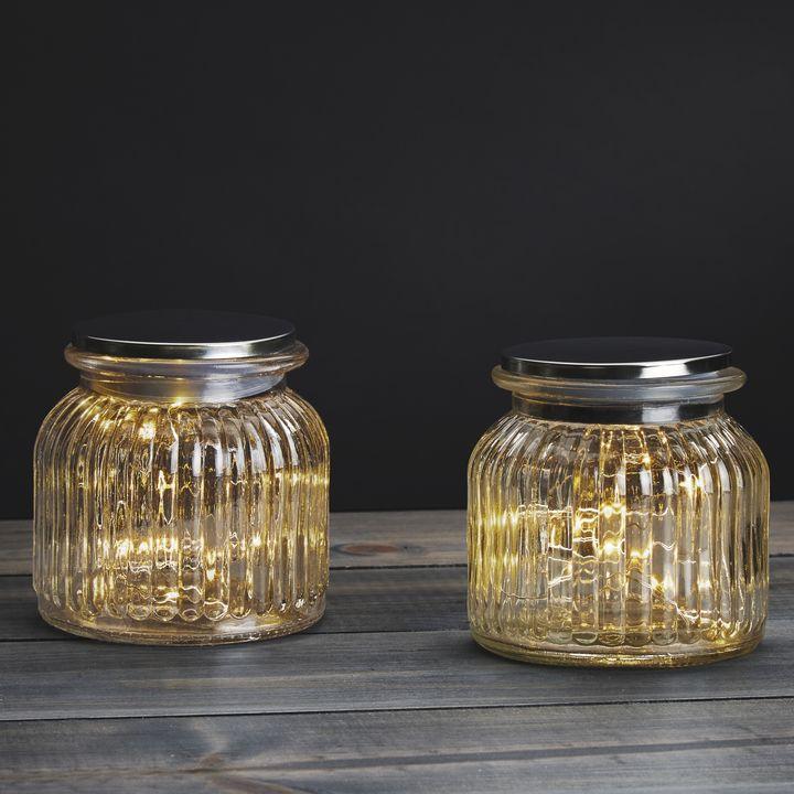 20 LED Silver Fairy Light Mason Jar, Set of 2
