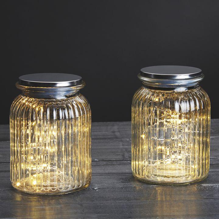 30 LED Silver Fairy Light Mason Jar, Set of 2