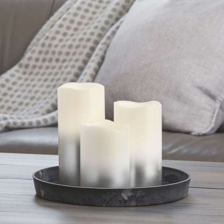 Silver Ombre Pillar Candles, Set of 3