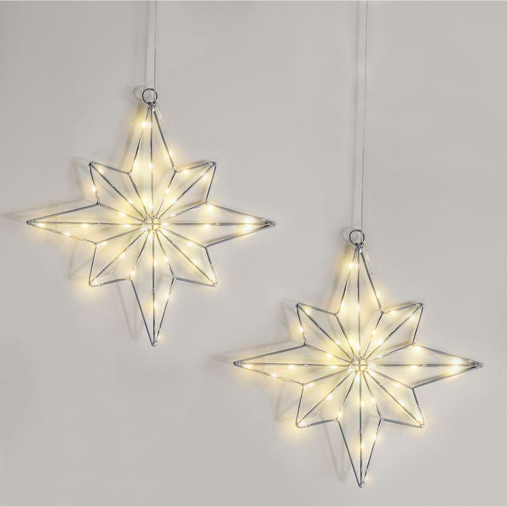 40 LED Medium Wire Star, Set of 2