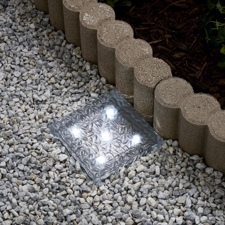 Lights Solar Landscape Lighting Iced 6x6 Brick Light Cool White