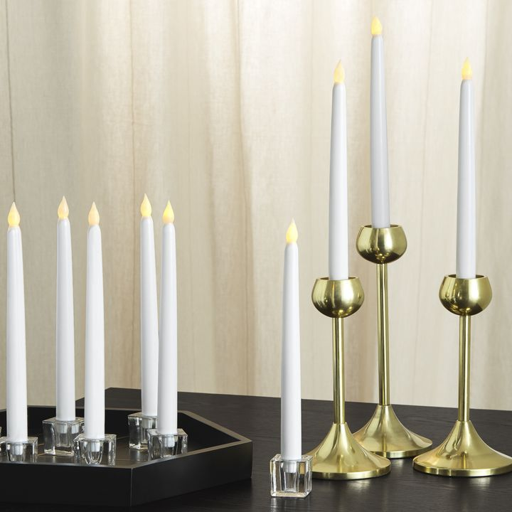 "Classic White 10"" Wax Flameless Taper Candles, Set of 10"