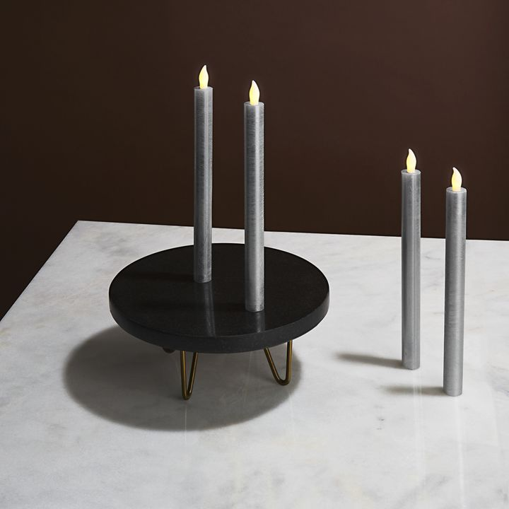 Rosalind Silver Distressed Taper Candles, Set of 4