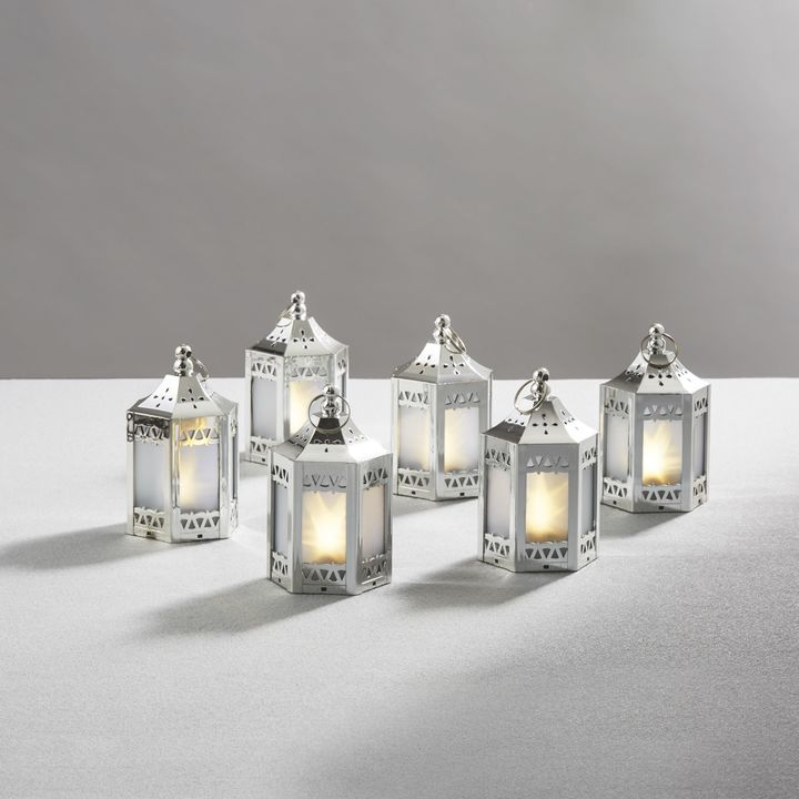 Lights Decor Flameless Candles Battery Operated Lanterns Anthea Silver Mini Holographic Stars Set Of 6