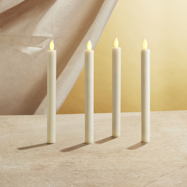"""Victoria Ivory 10"""" Flameless Taper Candles, Set of 4"""