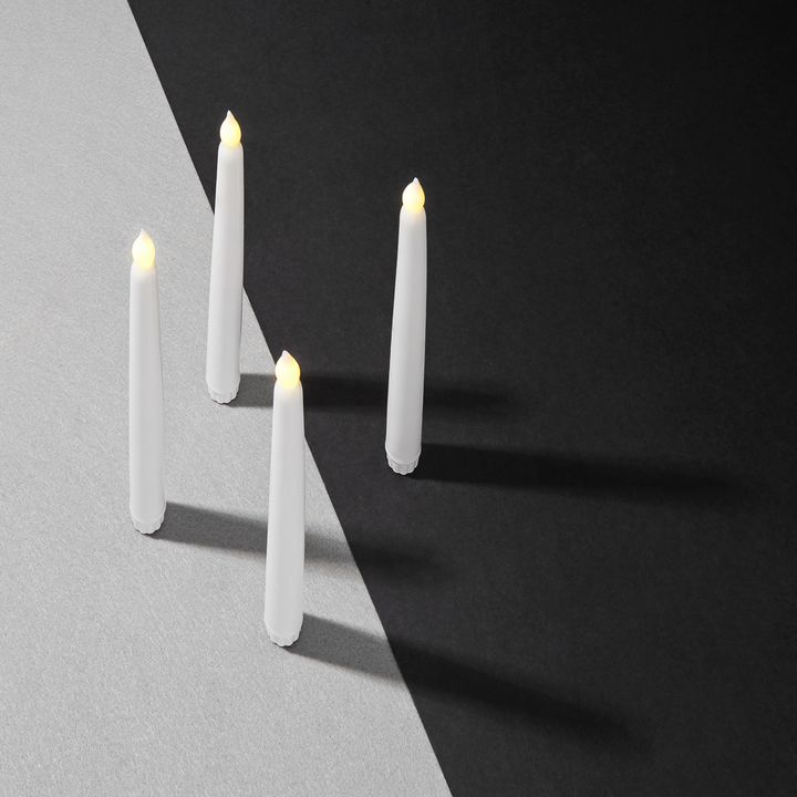 """Classic White 10"""" Wax Flameless Taper Candles, Set of 4"""