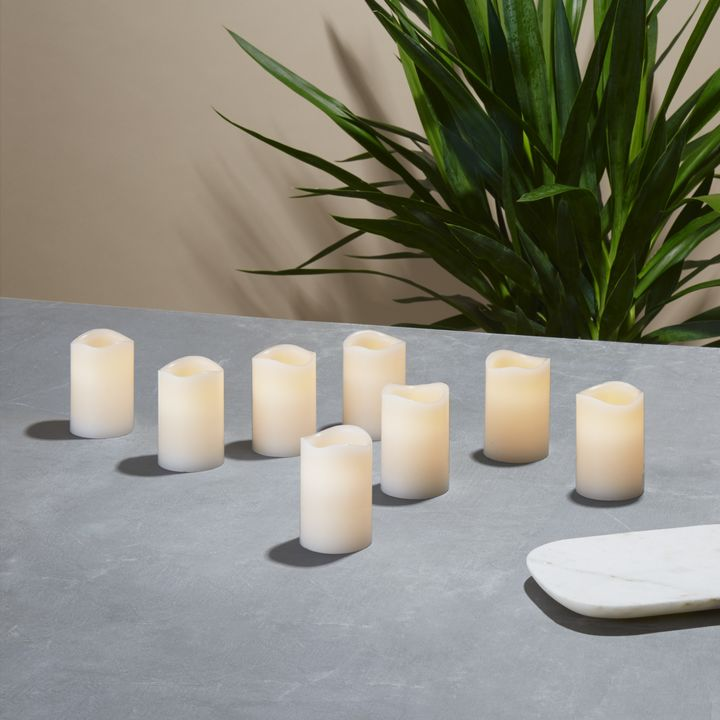 Nina White Melted-Edge Wax Votives, Set of 8