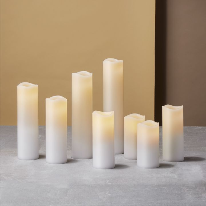 Leila White Melted-Edge Slim Wax Flameless Pillar Candles, Set of 8
