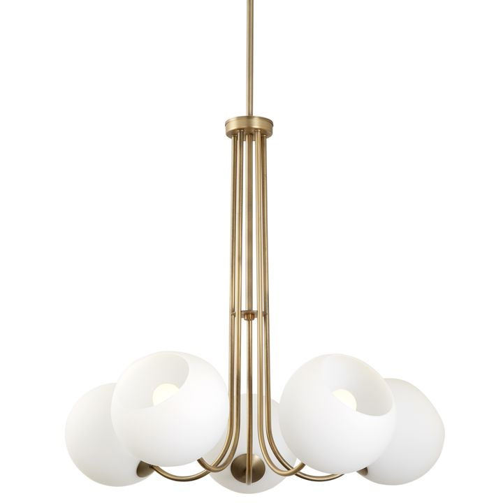 Celeste 5-Light Chandelier with White Globes, Aged Brass