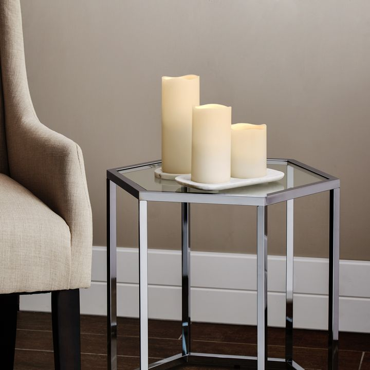 "Signature White Flameless 3x4"" Melted-Edge Wax Pillar Candle"