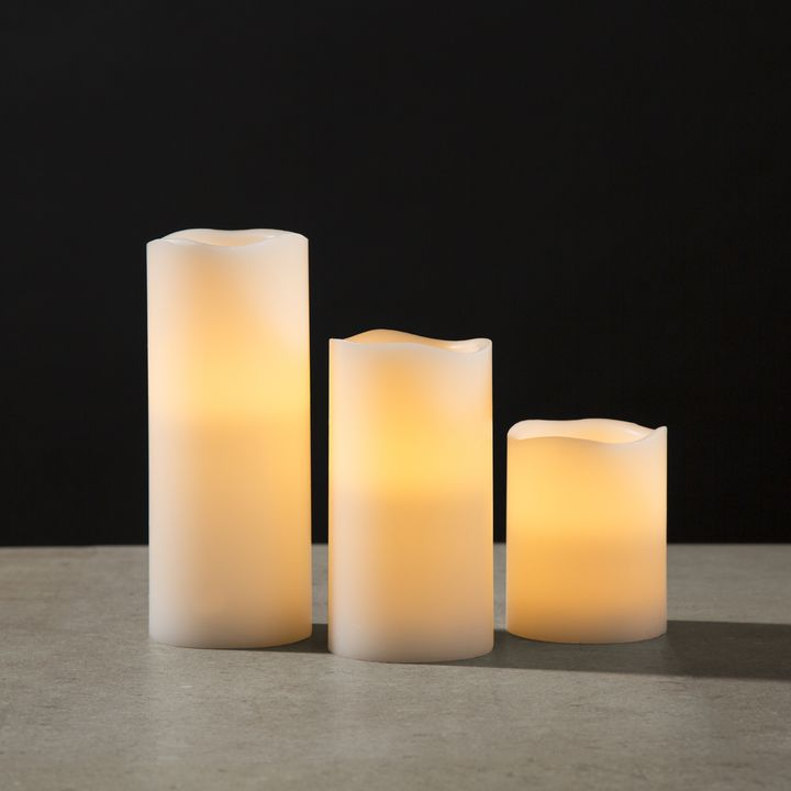 """Signature White Flameless 3x8"""" Melted Edge Wax Pillar Candle"""