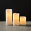 "Signature White Flameless 3x8"" Melted Edge Wax Pillar Candle"