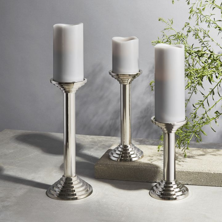 Delano Silver Pillar Candle Holder Small