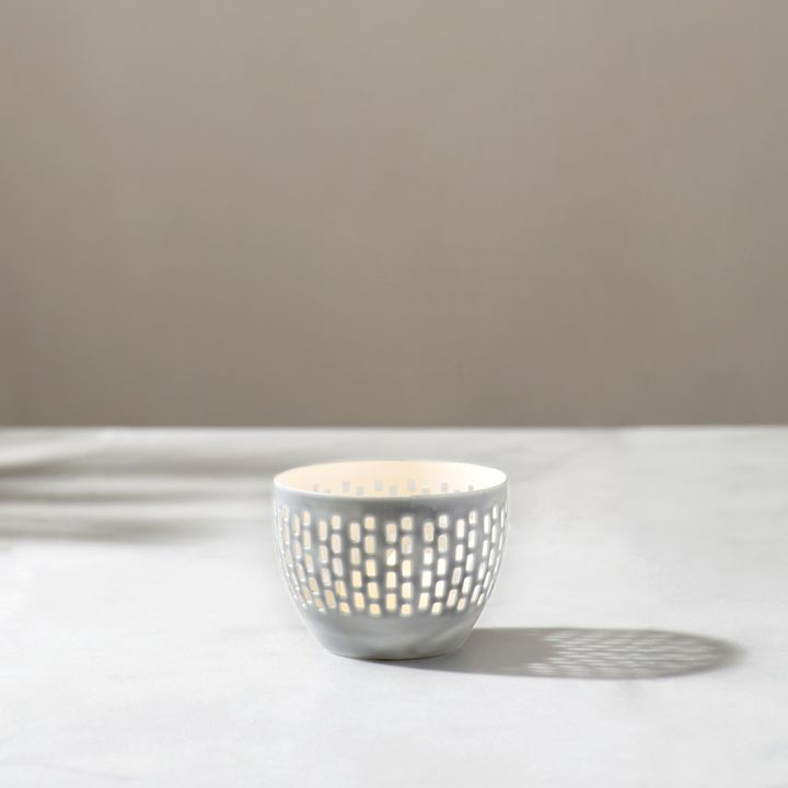 Magnolia Gray Tea Light Candle Holder
