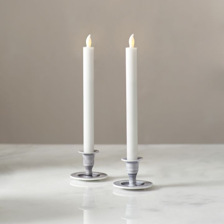 Magnolia Gray Taper Candle Holder, Set of 2