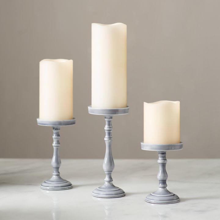 Magnolia Gray Pillar Candle Holder, Medium