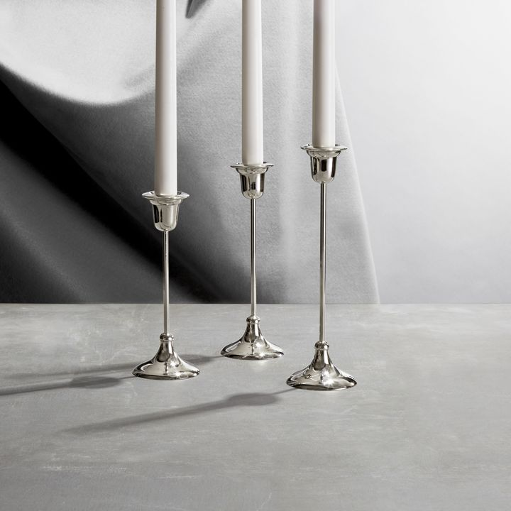 Arden Silver Taper Candle Holder, Small