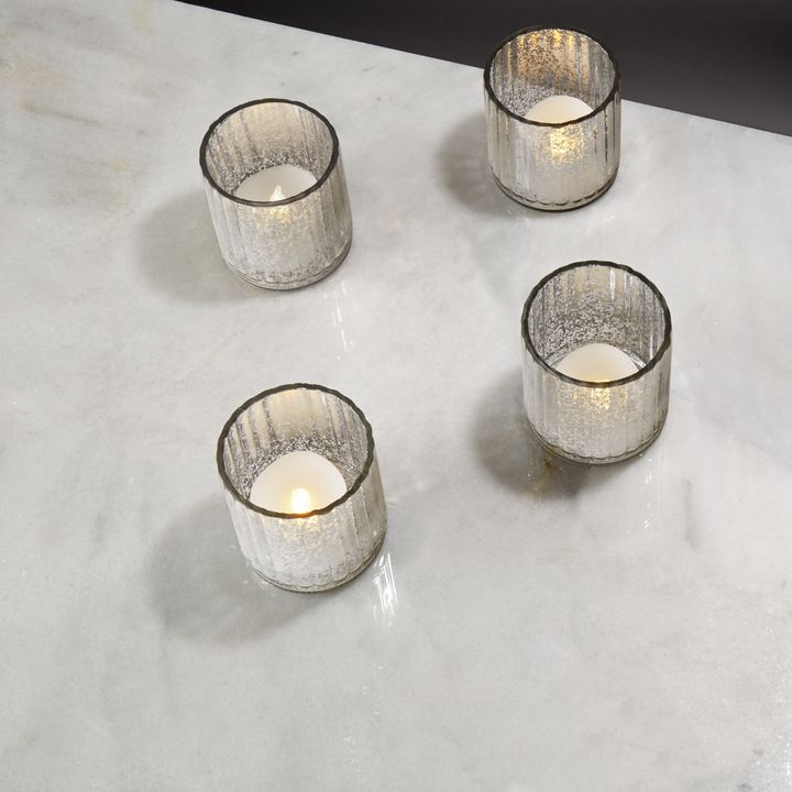 Silver Mercury Glass Tea Light Candle Holder, Set of 4