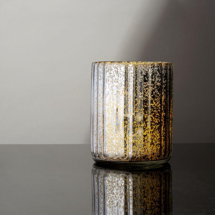 Silver Mercury Glass Candle Holder, Medium