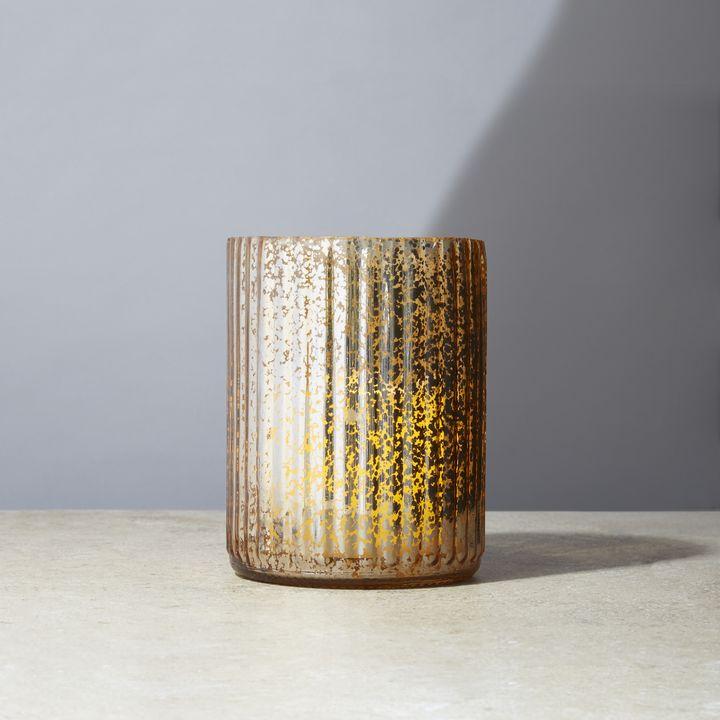 Gold Mercury Glass Candle Holder, Large