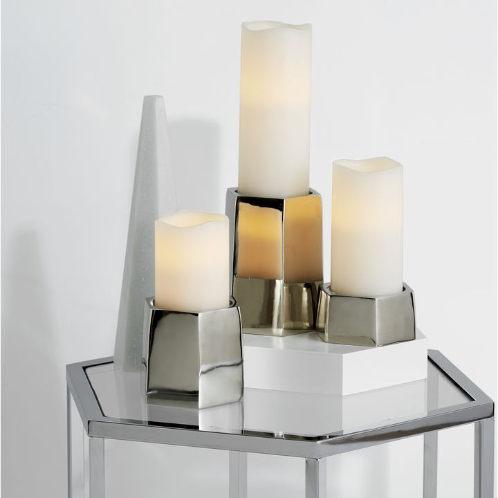 Pax Silver Pillar Candle Holder, Small