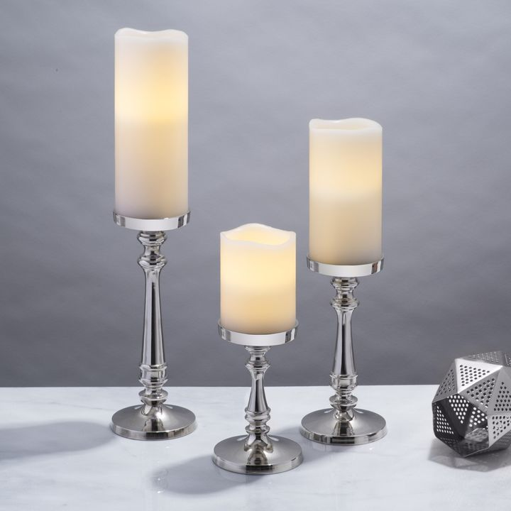 Somerset Silver Pillar Candle Holder, Small