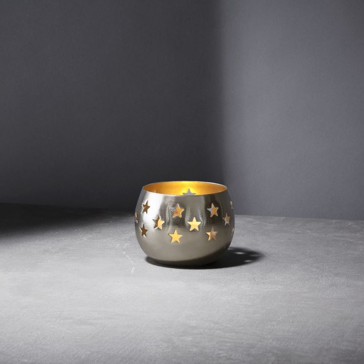 Starry Night Silver Votive Candle Holder