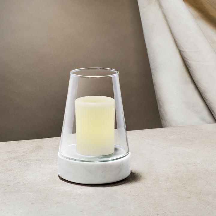 Bellona Tapered Glass and Marble Hurricane, Small