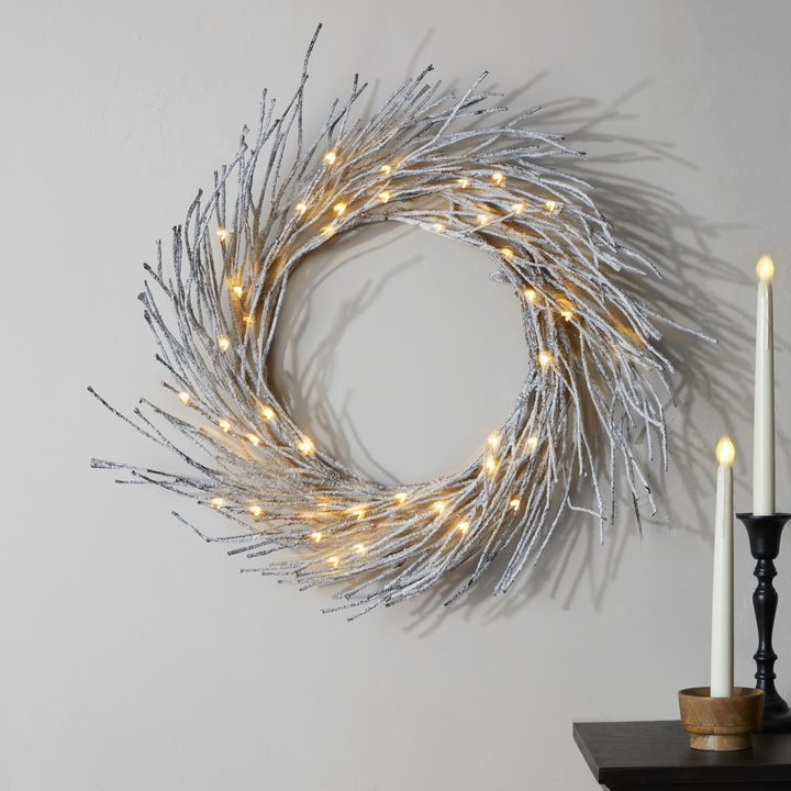 Frosted Branch LED-Wrapped Wreath