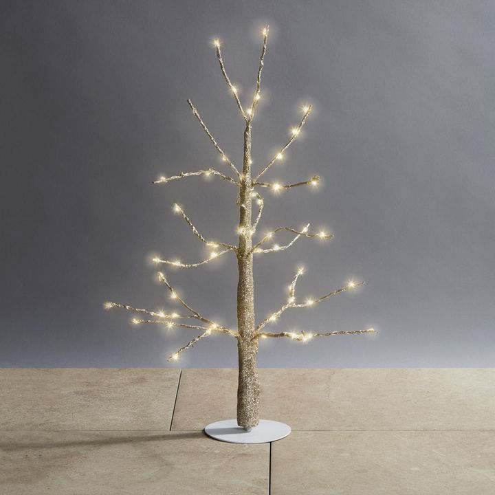 Glittering LED-Wrapped Wintry Tree, 18""