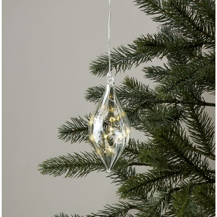Rounded Glass Finial with Silver Fairy Lights