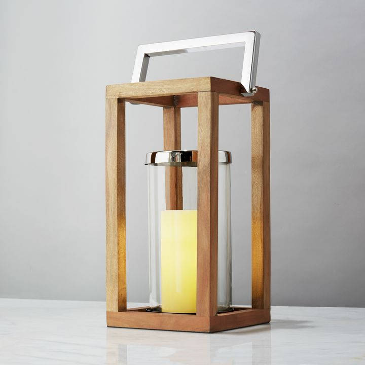 Elin Wood and Chrome Lantern