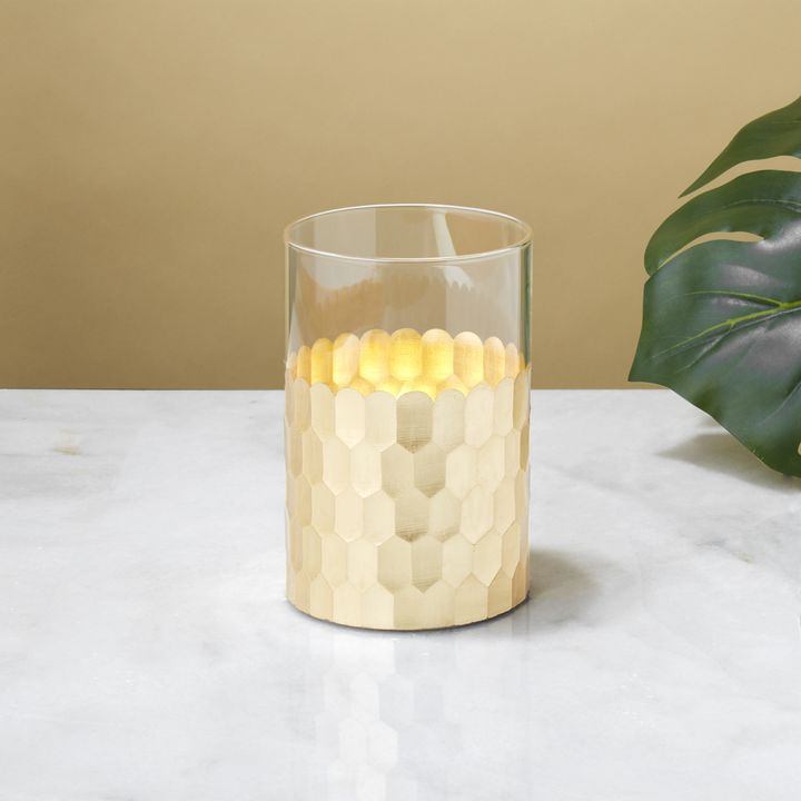 Gia Honeycomb Flameless Candle, Gold