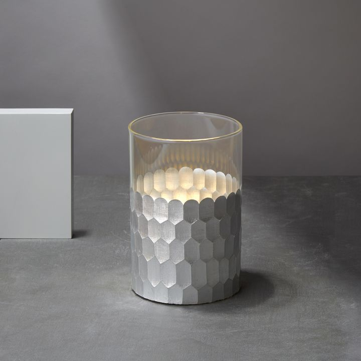Gia Honeycomb Flameless Candle, Silver