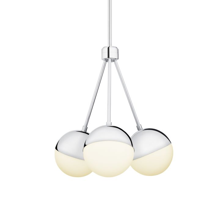 Powell LED 3 Light Chandelier With White Globes, Chrome