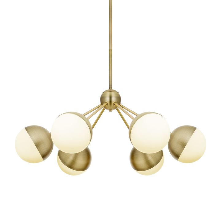 Powell Led 6 Light Chandelier With White Globes Aged Br