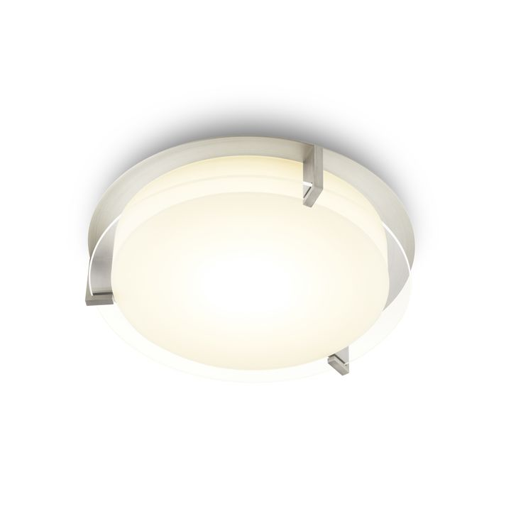 "Atlas 12"" Round LED Flush Mount, Satin Nickel"