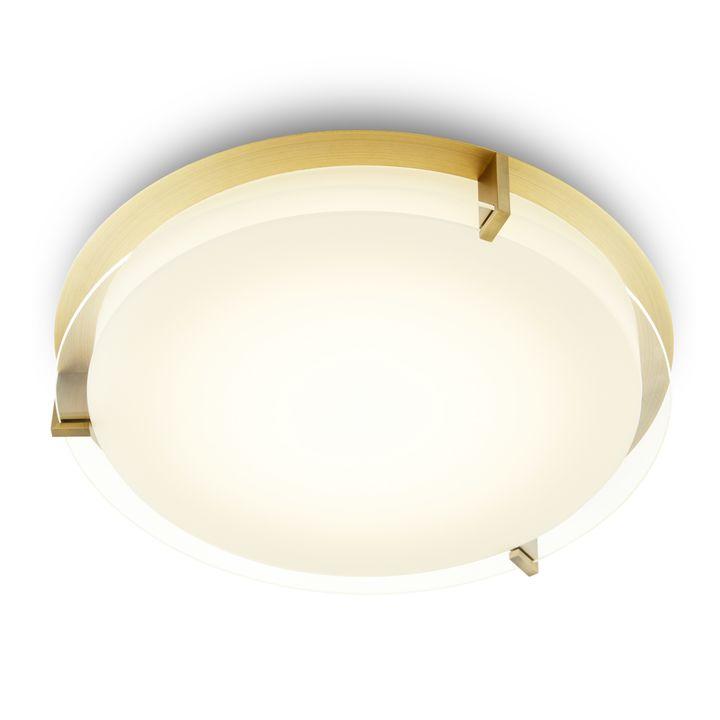 "Atlas 16"" Round LED Flush Mount, Aged Brass"