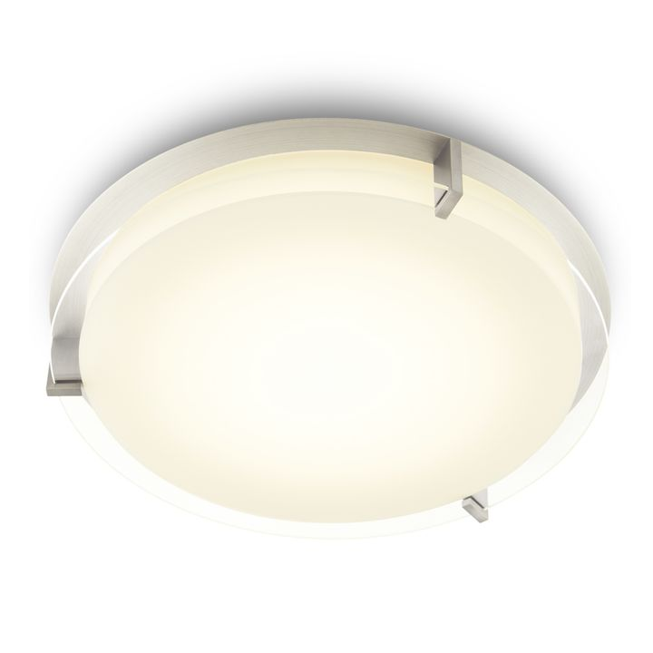 "Atlas 16"" Round LED Flush Mount, Satin Nickel"