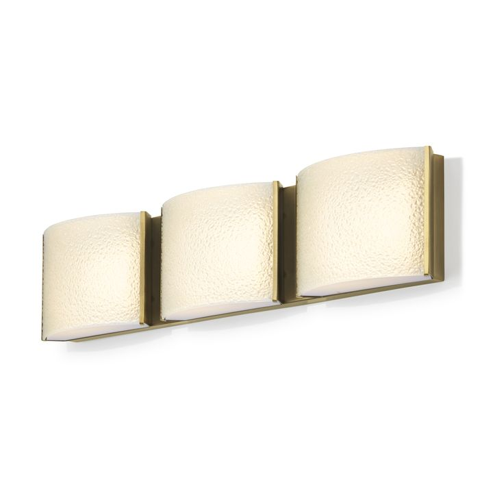 Sloane 3-Light Textured Glass LED Vanity, Aged Brass