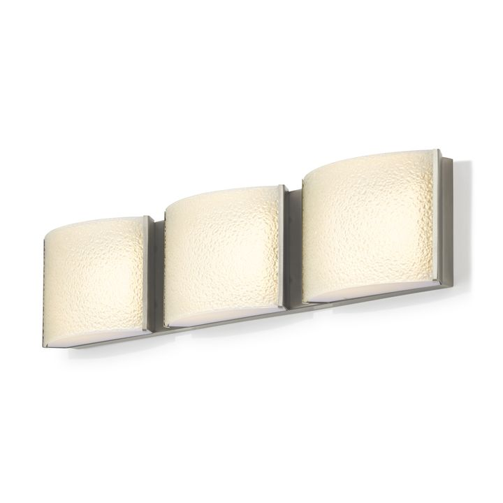 Sloane 3-Light Textured Glass LED Vanity, Satin Nickel