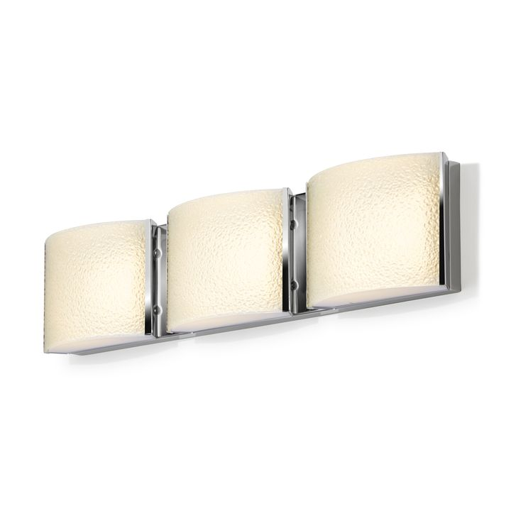 Sloane 3-Light Textured Glass LED Vanity, Chrome