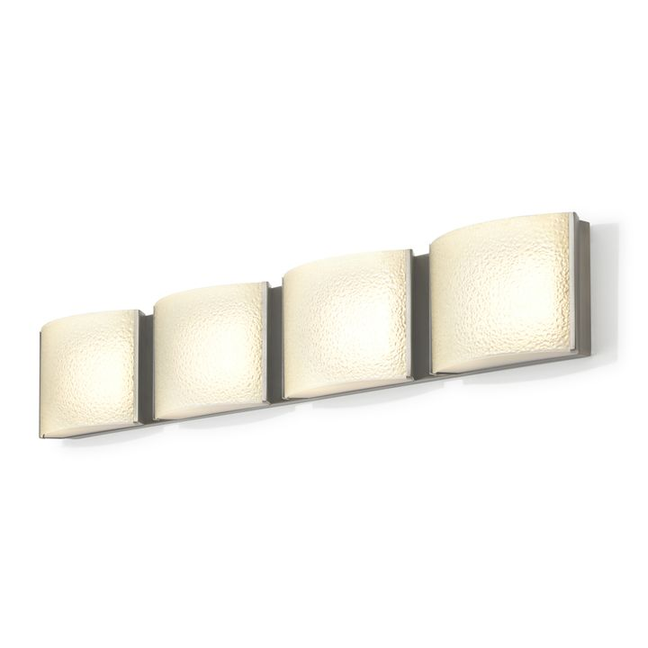 Sloane 4-Light Textured Glass LED Vanity, Satin Nickel