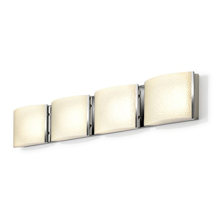 Sloane 4-Light Textured Glass LED Vanity, Chrome