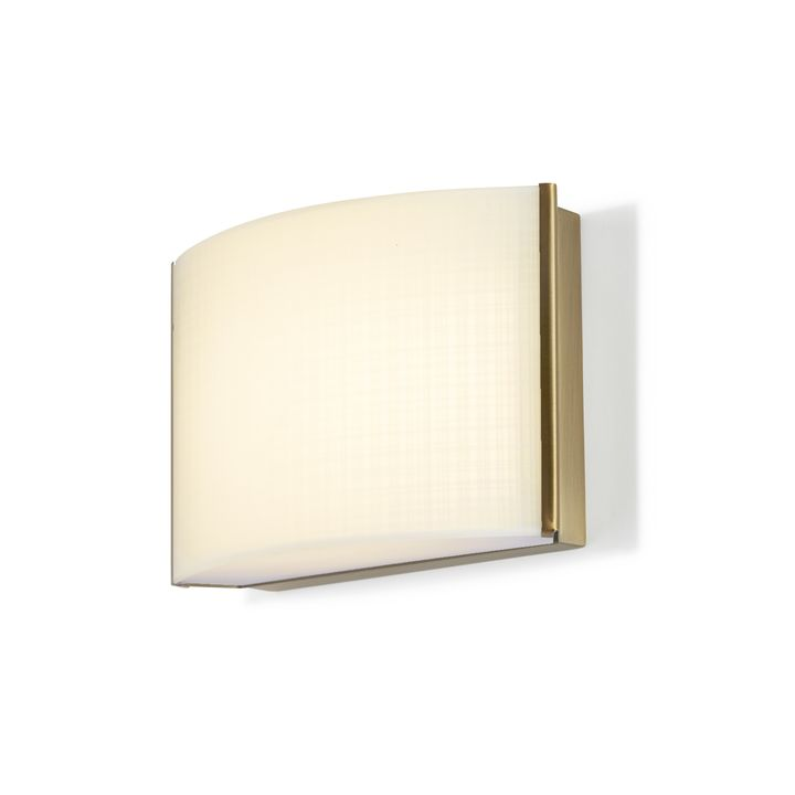 Sloane Linen Glass LED Sconce, Aged Brass
