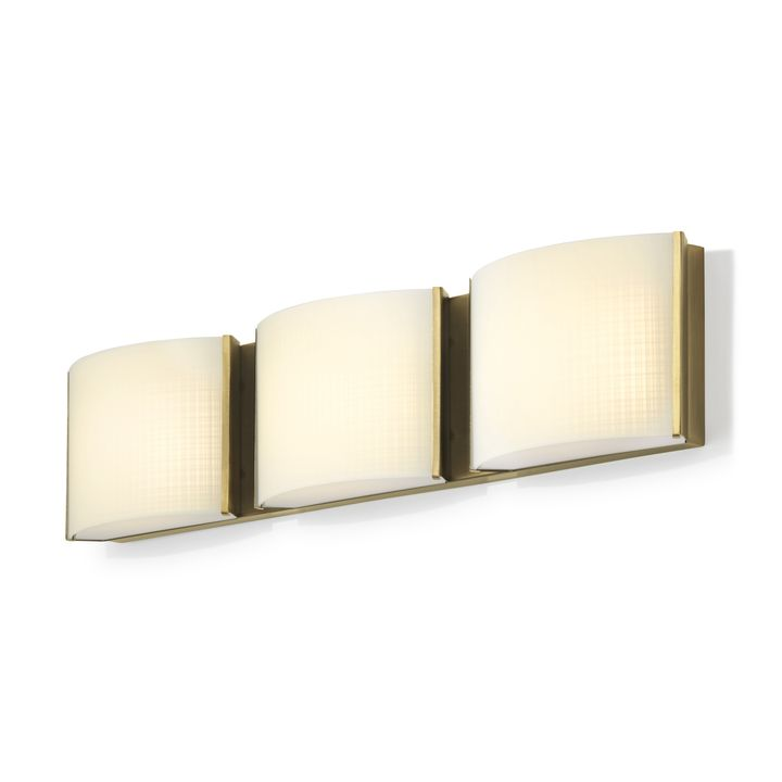 Sloane 3-Light Linen Glass LED Vanity, Aged Brass