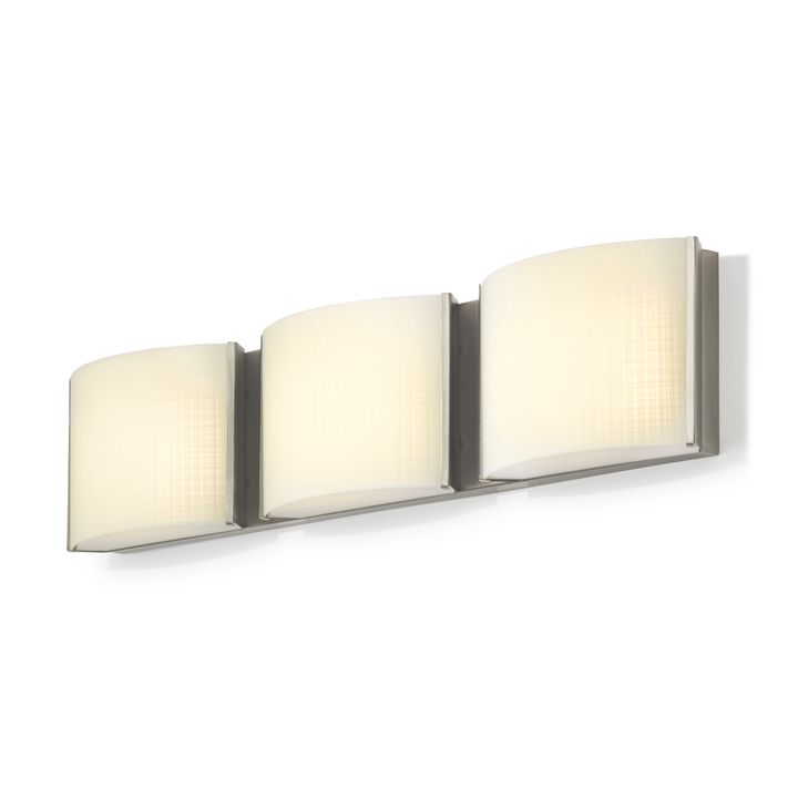 Sloane 3-Light Linen Glass LED Vanity, Satin Nickel