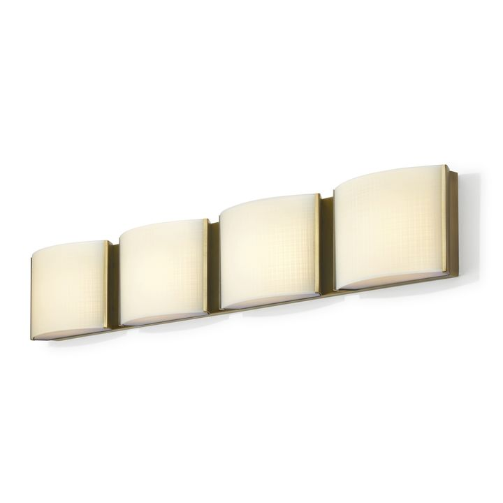 Sloane 4-Light Linen Glass LED Vanity, Aged Brass