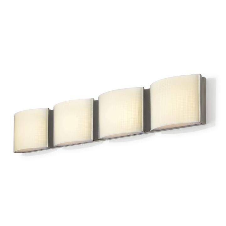 Sloane 4-Light Linen Glass LED Vanity, Satin Nickel