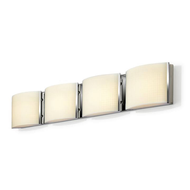 Sloane 4-Light Linen Glass LED Vanity, Chrome